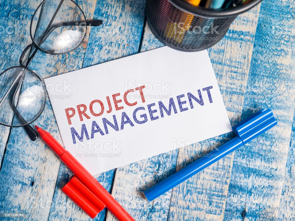 Project Management, Motivational Words Quotes Concept Project Management, business motivational inspirational quotes, words typography top view lettering concept Achievement Stock Photo