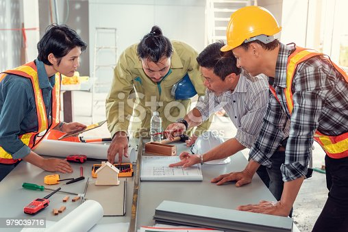 istock Project management team of engineers and architects planing brainstorming for new project, Business construction concepts 979039716