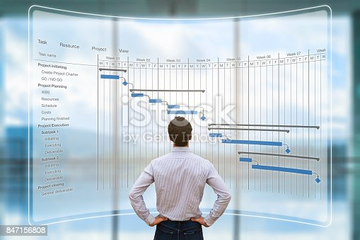 1024730528 istock photo Project manager looking at AR screen, Gantt chart schedule, planning 847156808