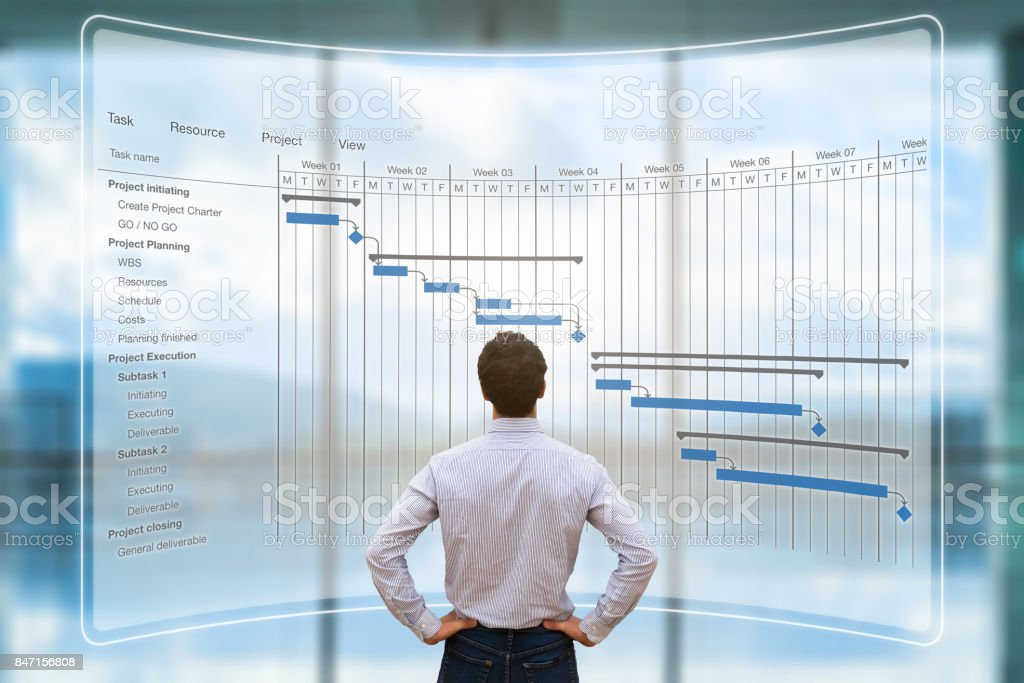 Project manager looking at AR screen, Gantt chart schedule, planning stock photo