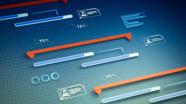 project manager software project manager software, futuristic interface, gantt chart (3d render) gantt chart stock pictures, royalty-free photos & images