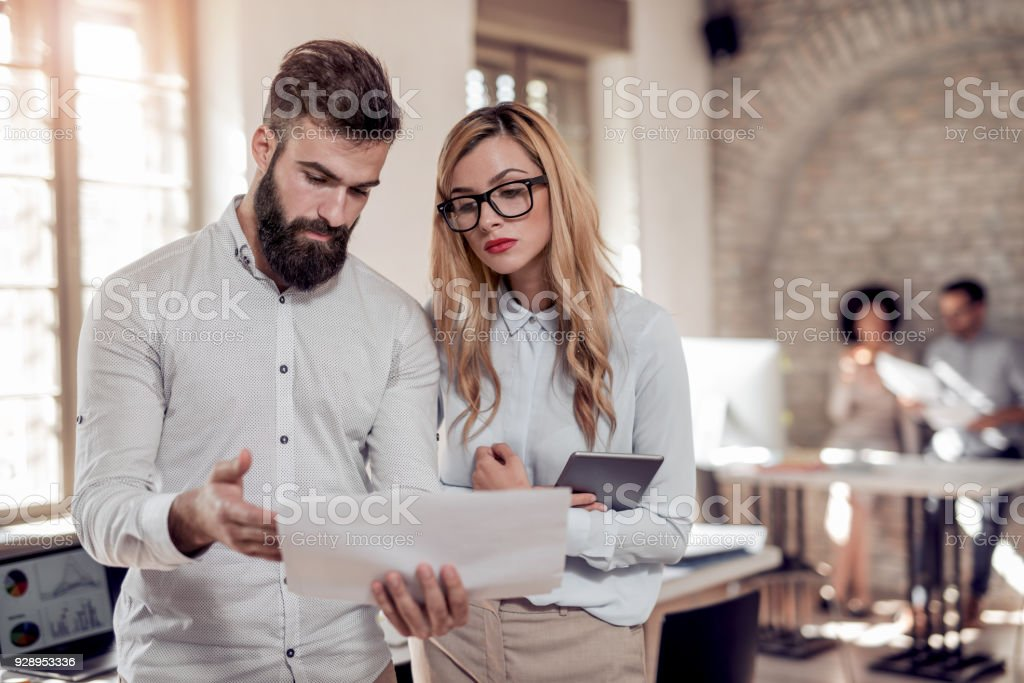 Project manager team discussing a new ideas. stock photo