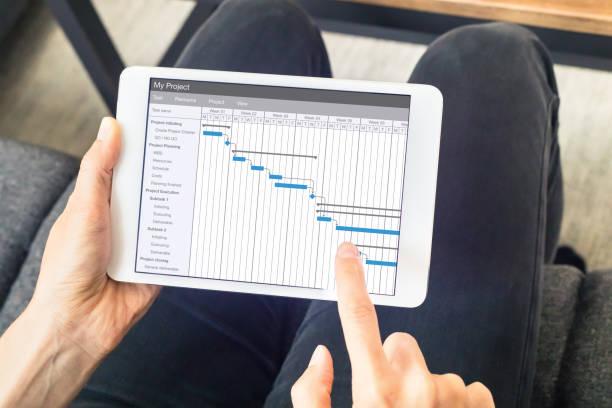 chef de projet mise à jour calendrier du diagramme de gantt, logiciel, tablette tactile de planification - chef de projet photos et images de collection