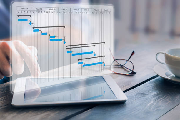 Project manager updating progress and deliverables milestones schedule on gantt chart planning with digital tablet computer, professional planner in office stock photo