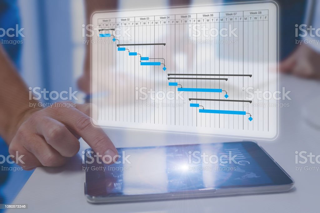 Project manager using Gantt chart schedule to discuss tasks, milestones and deliverables progress with stakeholders, digital planning floating above tablet computer screen, professional people team stock photo