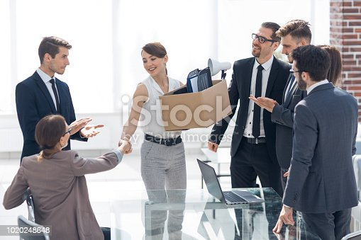 istock project Manager welcomes the new employee 1020248648