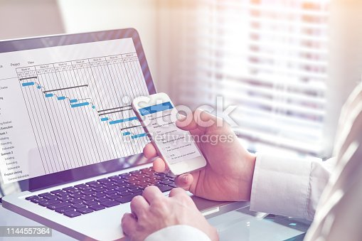 1024730528 istock photo Project manager working on Gantt chart planning schedule with tasks and milestones on computer and sending email on smartphone, professional management and communication app, office interior 1144557364