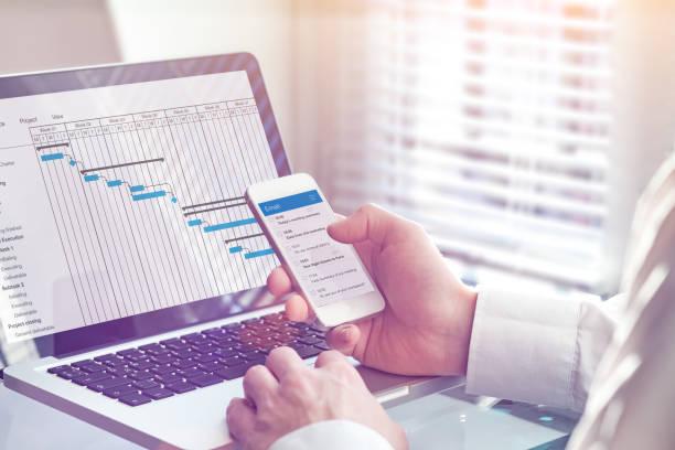 Projektleiter, der am Gantt-Chart-Planungsplan mit Aufgaben und Meilensteinen am Computer arbeitet und E-Mails auf Smartphone, professionelles Management und Kommunikations-App, Büro-Interieur – Foto