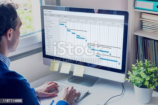 Project manager working on Gantt chart schedule to create planning with tasks and milestones to plan activities, person working with management tools on computer in office