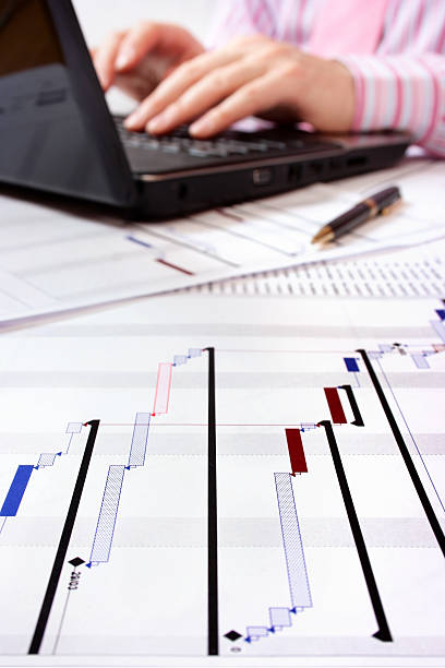Project manager working on laptop by Gantt charts  gantt chart stock pictures, royalty-free photos & images