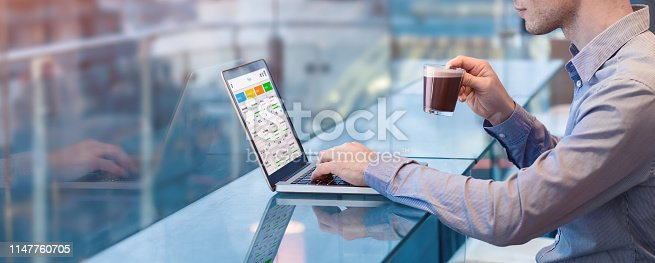 istock Project manager working with agile framework and scrum or kanban methodology, project management with iterative or incremental strategy, young businessman working with computer in office 1147760705