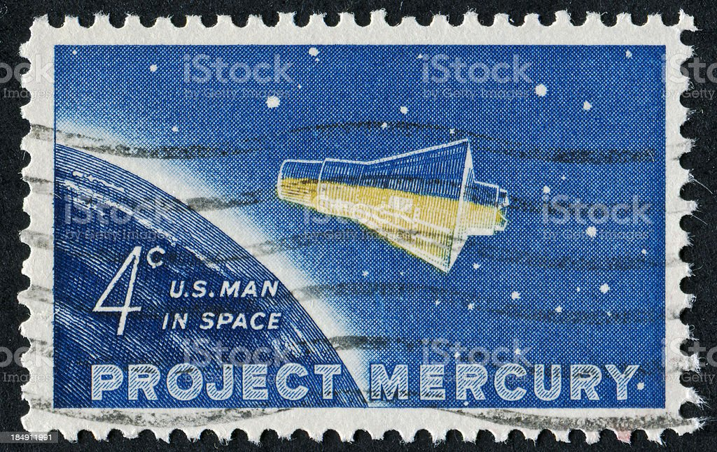 Project Mercury Stamp stock photo