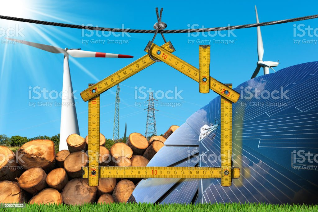 Project of Ecological House - Renewable Energies royalty-free stock photo