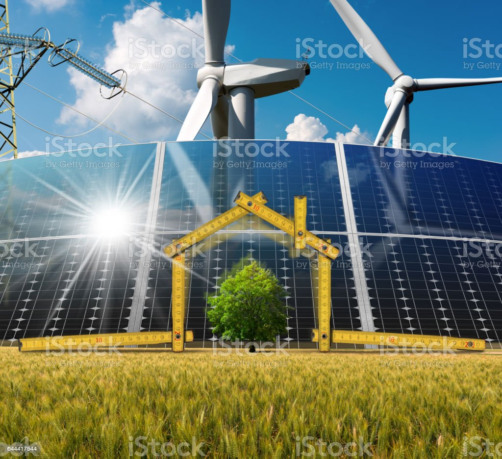 Project of Ecological House with Renewable Energy stock photo