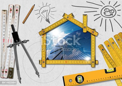 904490858istockphoto Project of Ecological House with Solar Panel 641463564