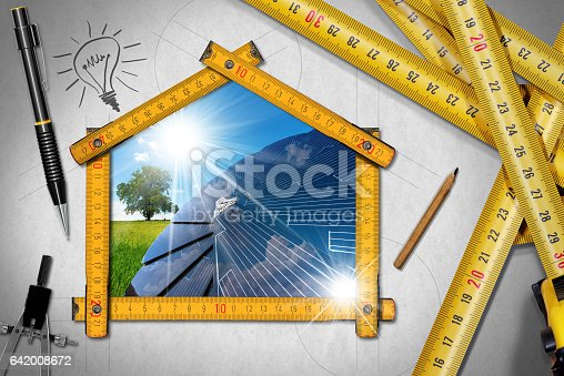 904490858istockphoto Project of Ecological House with Solar Panel 642008672