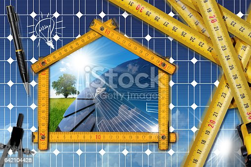 904490858istockphoto Project of Ecological House with Solar Panel 642104428
