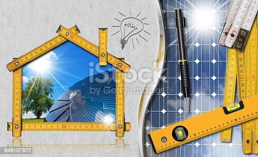 904490858istockphoto Project of Ecological House with Solar Panel 648107872