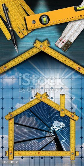 904490858istockphoto Project of Ecological House with Solar Panel 667028138