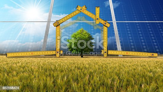 904490858istockphoto Project of Ecological House with Solar Panels 652568424