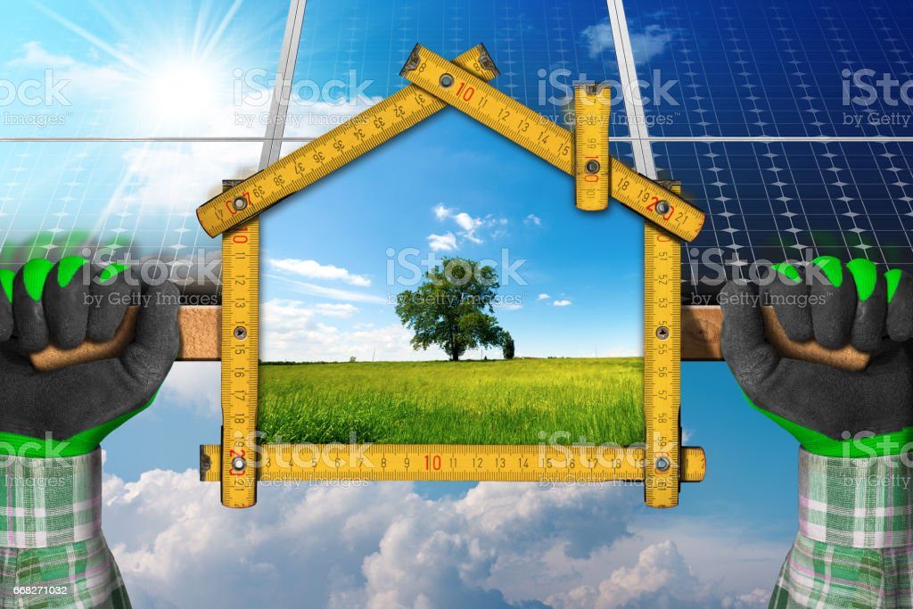 Project of Ecological House with Solar Panels foto stock royalty-free