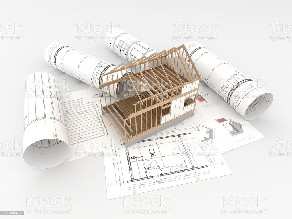 project of wooden house stock photo