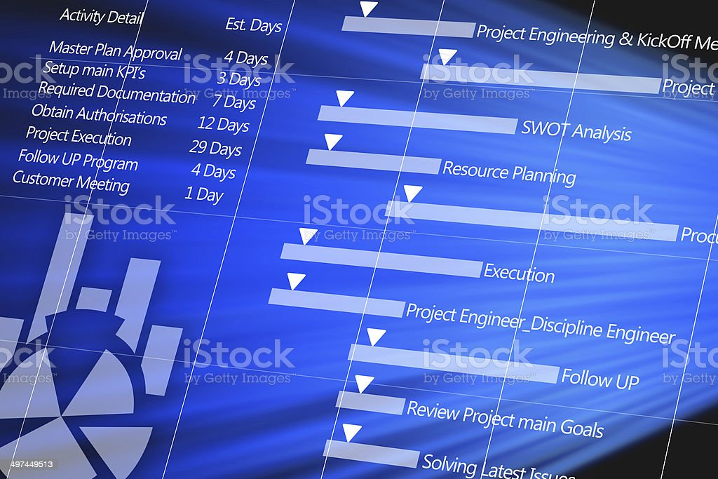 Project plan detail on digital display stock photo