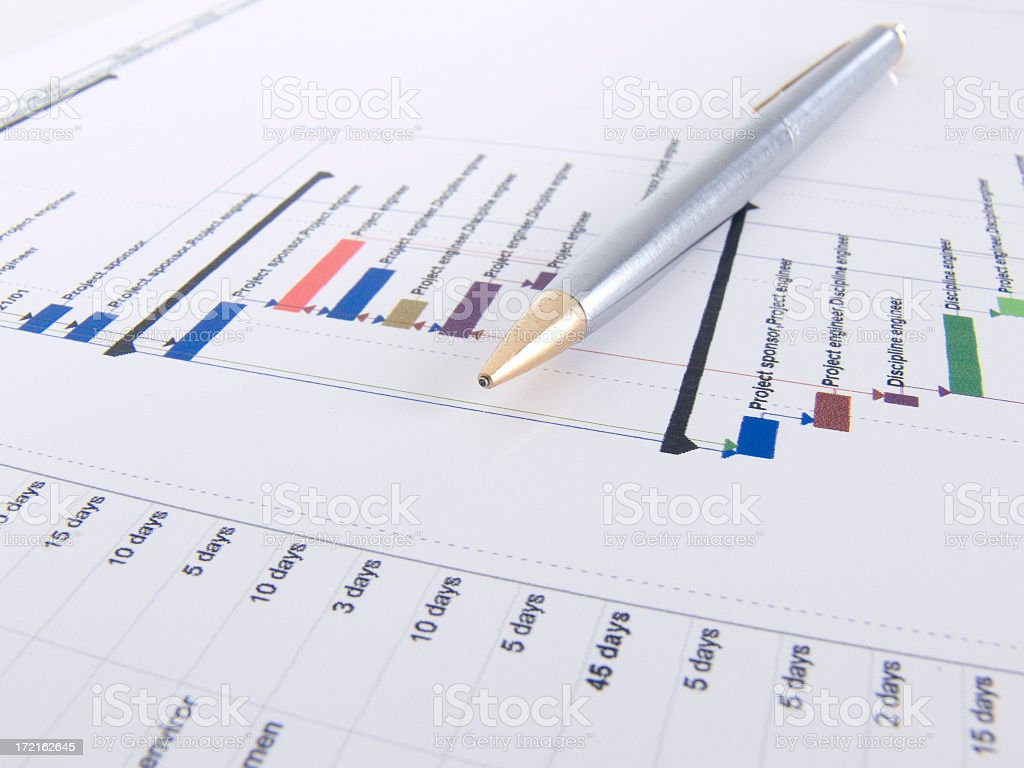Project Plan Gantt Chart with Pen royalty-free stock photo