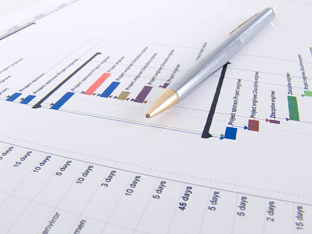 Project Plan Gantt Chart with Pen Project plan showing a gantt chart with a pen resting on the printout. Image shows the different coloured bars representing tasks to be done on a timeline and the duration of the tasks. gantt chart stock pictures, royalty-free photos & images