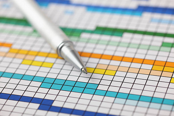 Project Plan Project Plan (Gantt chart) and ballpoint pen on it. Close-up. gantt chart stock pictures, royalty-free photos & images