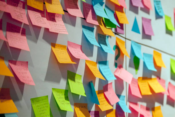 project planning - post it foto e immagini stock
