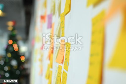 istock Project Planning, Sticky note, agile methodology, scrum, kanban 1136829768