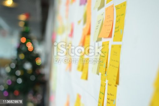 istock Project Planning, Sticky note, agile methodology, scrum, kanban 1136829978