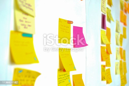 istock Project Planning, Sticky note, agile methodology, scrum, kanban 1136831182