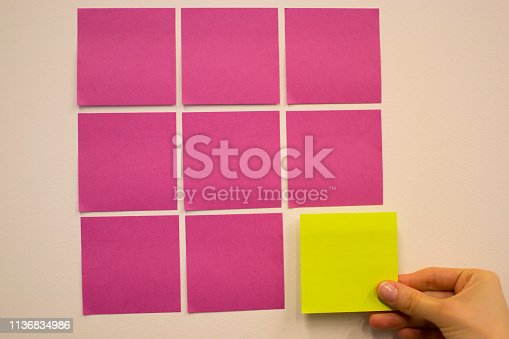 istock Project Planning, Sticky note, agile methodology, scrum, kanban 1136834986