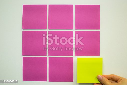 istock Project Planning, Sticky note, agile methodology, scrum, kanban 1136836013