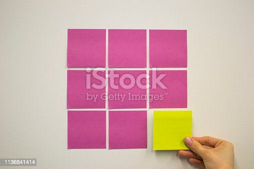 istock Project Planning, Sticky note, agile methodology, scrum, kanban 1136841414