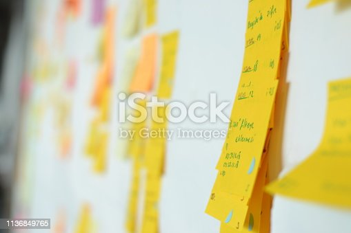 istock Project Planning, Sticky note, agile methodology, scrum, kanban 1136849765