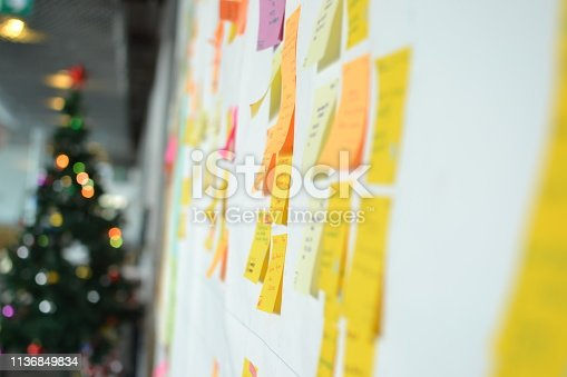 istock Project Planning, Sticky note, agile methodology, scrum, kanban 1136849834