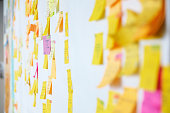 Wall full of multi colored adhesive, sticky notes, project planning.