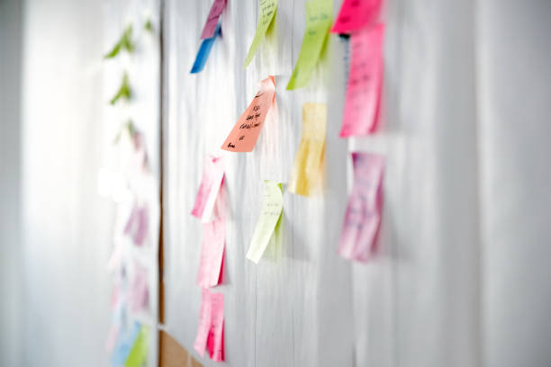 project planning, sticky notes - post it foto e immagini stock