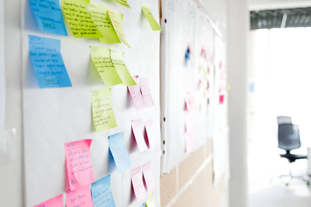 Project Planning, Sticky Notes Wall with full of multi colored adhesive, sticky notes, project planning. agility stock pictures, royalty-free photos & images