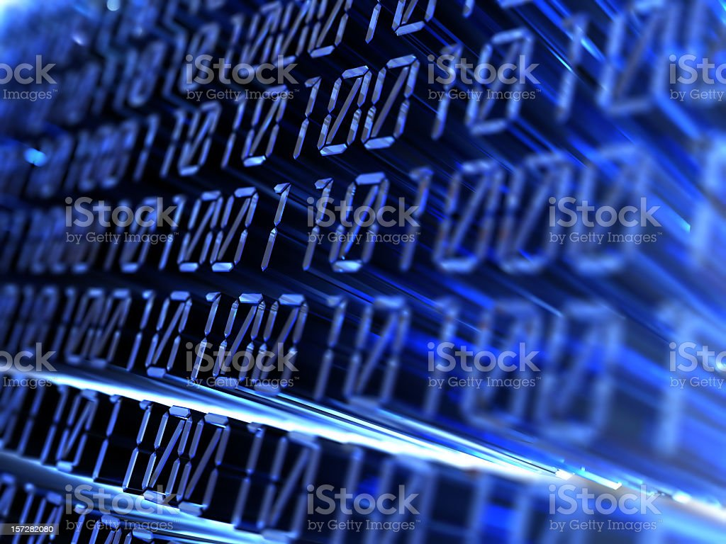Projected blue numbers in binary code  royalty-free stock photo
