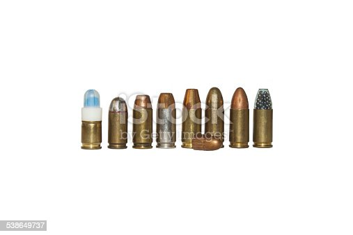 projectile and charge 9mm, different types isolated on white, detail