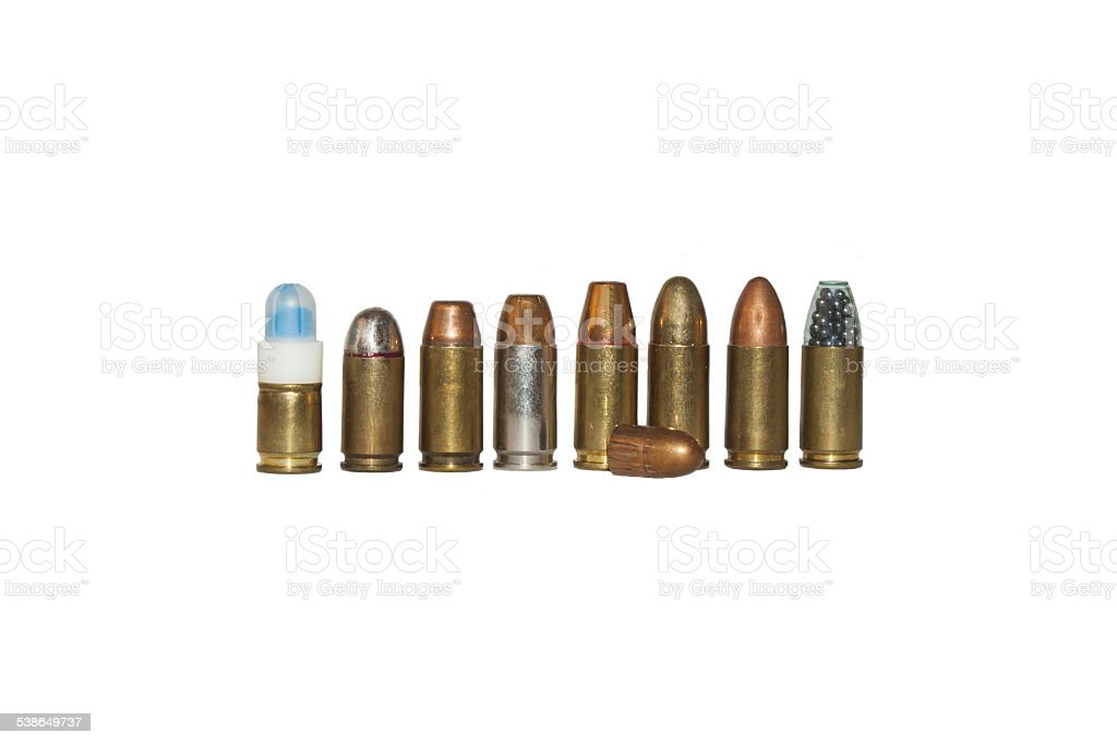 projectile and charge 9mm, different types stock photo