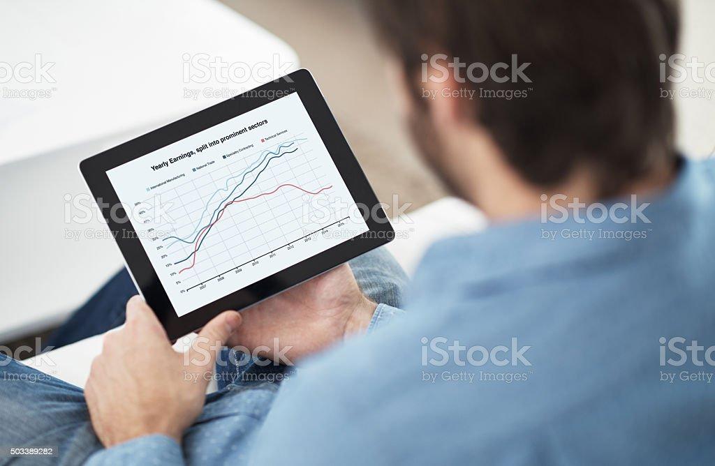 Projecting his progress stock photo