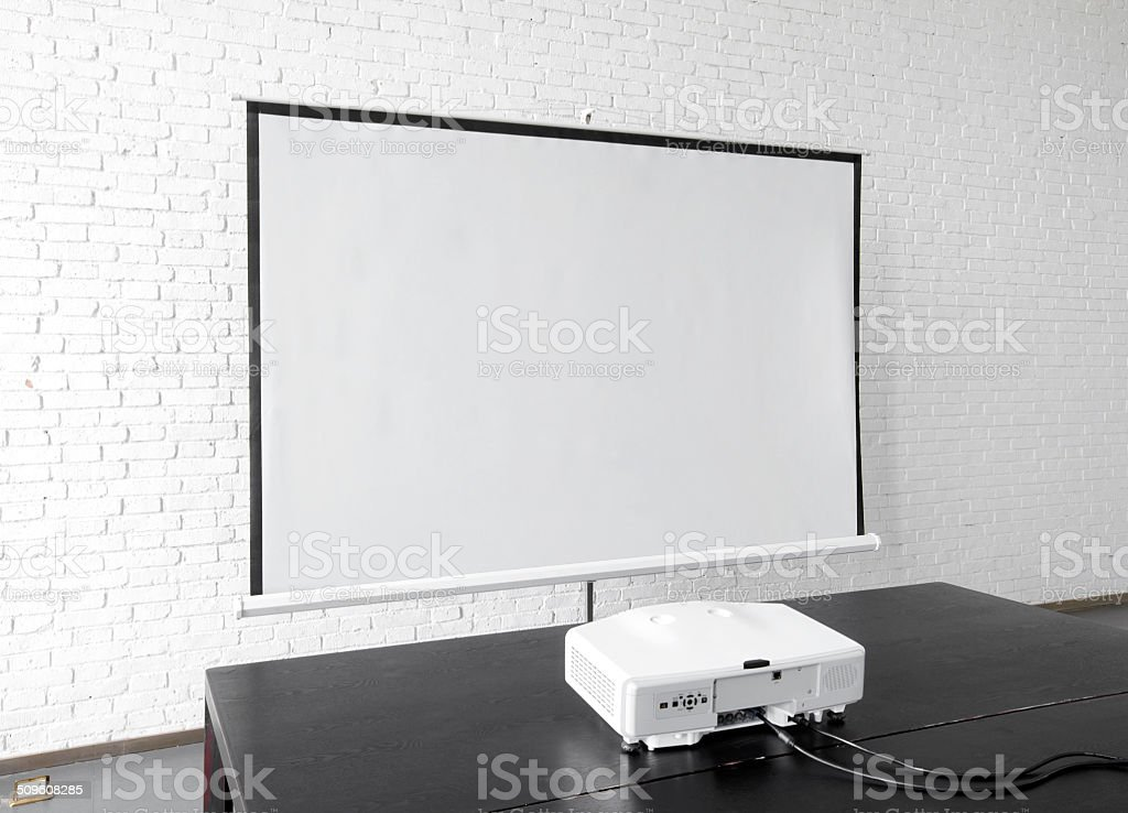 Projection screen in the office environment stock photo