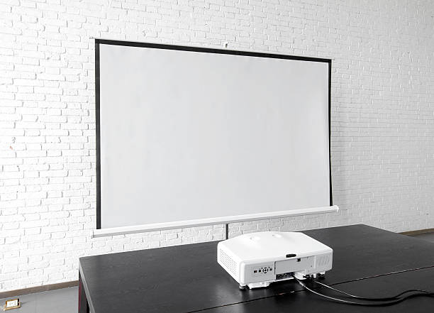 projection screen in the office environment - projection equipment stock pictures, royalty-free photos & images