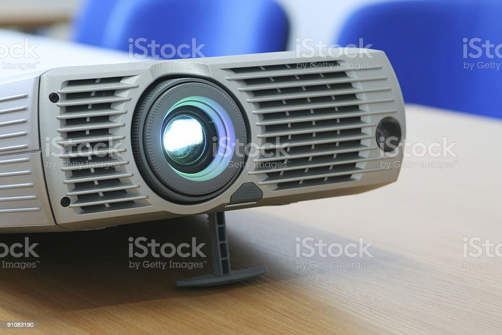 Projector at office table (horizontal) royalty-free stock photo