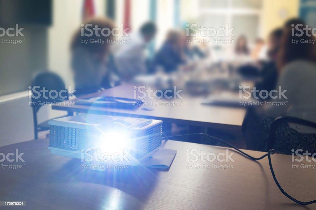 projector at seminar stock photo
